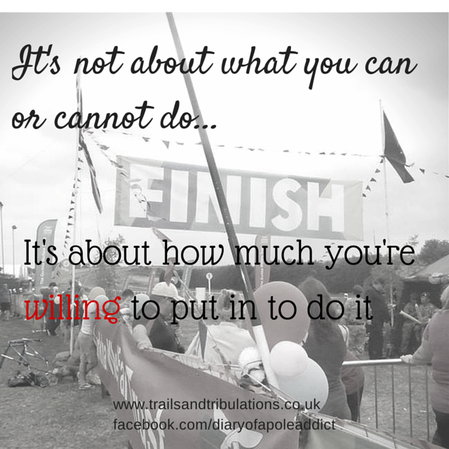 It's Not About What You Can Or Cannot Do - It's About What You're Willing To Put In To Do It! motivational quote